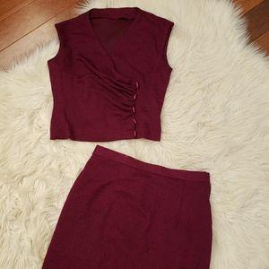 Vintage Crop Blouse and High Waist Skirt Set